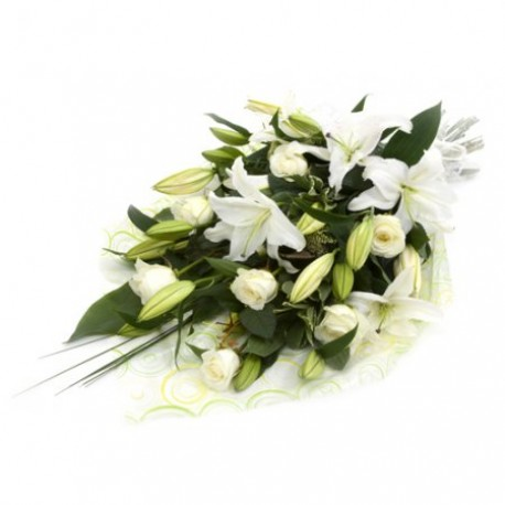Bereavement white lilies and white Roses
